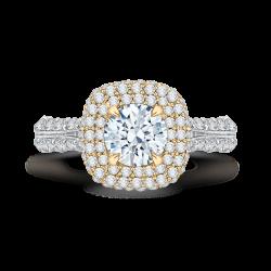 18K Two-Tone Gold Round Diamond Doubl...