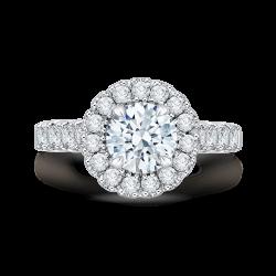 18K White Gold Round Diamond Halo Eng...