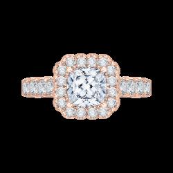 18K Pink Gold Cushion Cut Diamond Hal...